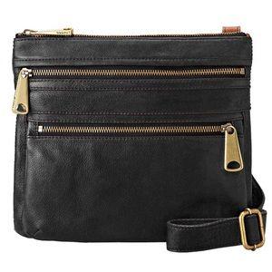 Fossil Explorer Black Leather Crossbody Bag